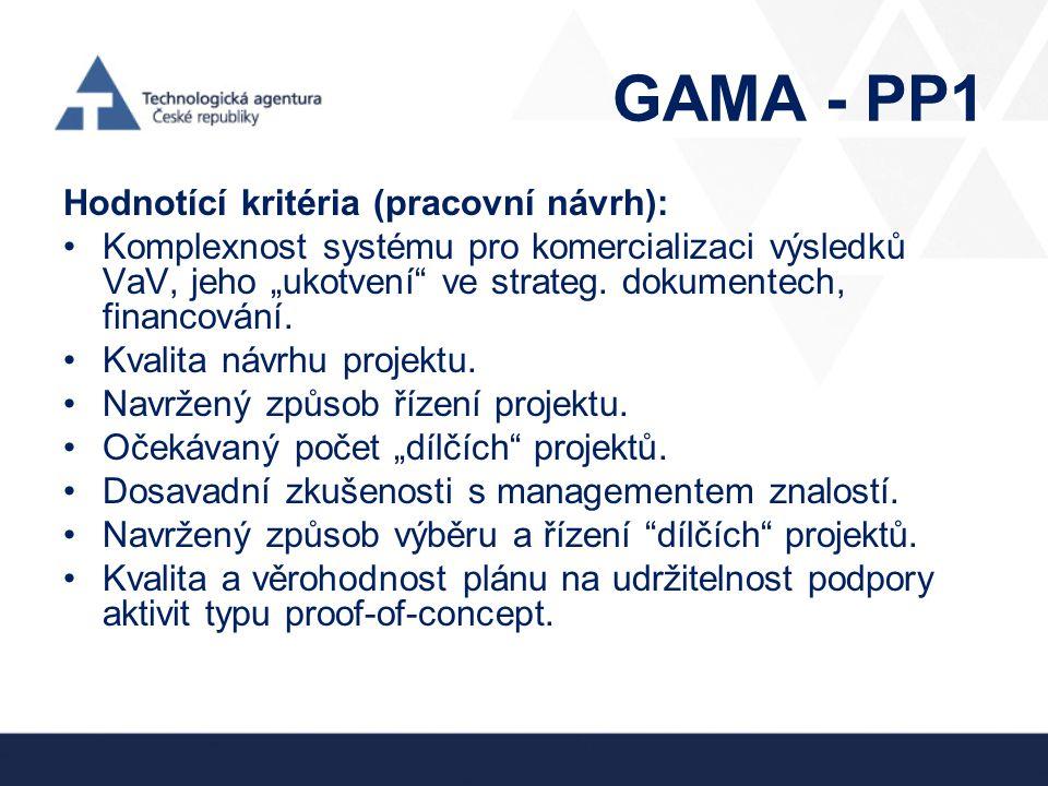 """GAMA - PP1 Hodnotící kritéria (pracovní návrh): •Komplexnost systému pro komercializaci výsledků VaV, jeho """"ukotvení"""" ve strateg. dokumentech, financo"""