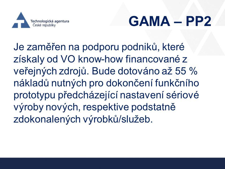 GAMA – PP2 Je zaměřen na podporu podniků, které získaly od VO know-how financované z veřejných zdrojů. Bude dotováno až 55 % nákladů nutných pro dokon