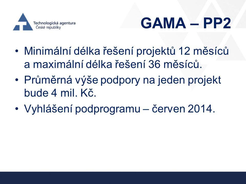 GAMA – PP2 •Minimální délka řešení projektů 12 měsíců a maximální délka řešení 36 měsíců. •Průměrná výše podpory na jeden projekt bude 4 mil. Kč. •Vyh