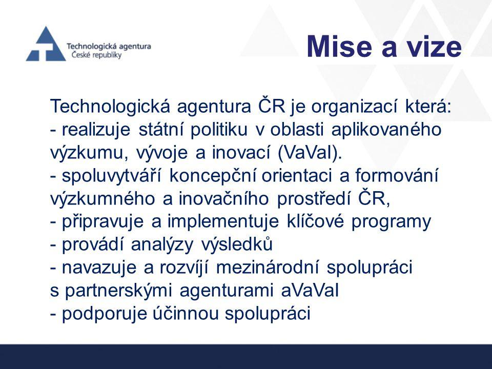Mise a vize Technologická agentura ČR je organizací která: - realizuje státní politiku v oblasti aplikovaného výzkumu, vývoje a inovací (VaVaI). - spo