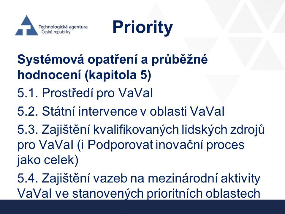 Priority Systémová opatření a průběžné hodnocení (kapitola 5) 5.1. Prostředí pro VaVaI 5.2. Státní intervence v oblasti VaVaI 5.3. Zajištění kvalifiko