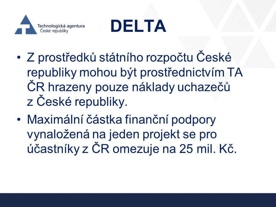 DELTA •Z prostředků státního rozpočtu České republiky mohou být prostřednictvím TA ČR hrazeny pouze náklady uchazečů z České republiky. •Maximální čás