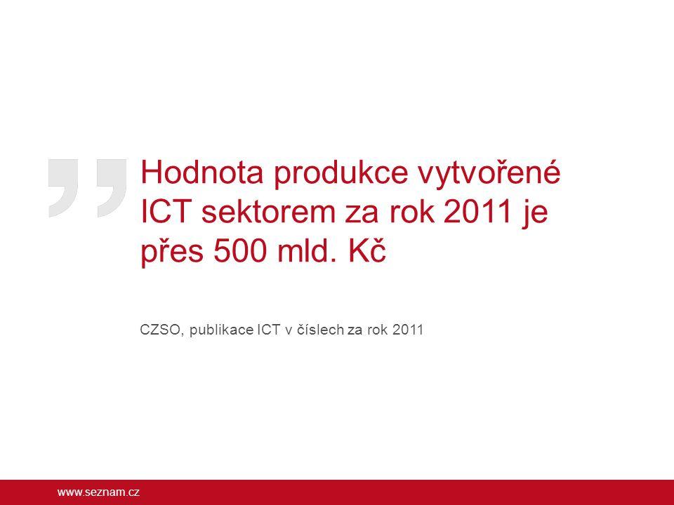 www.seznam.cz Hodnota produkce vytvořené ICT sektorem za rok 2011 je přes 500 mld. Kč CZSO, publikace ICT v číslech za rok 2011