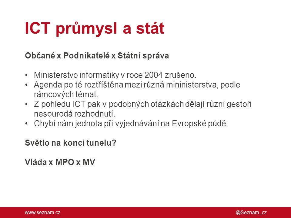 www.seznam.cz ICT průmysl a stát @Seznam_cz Občané x Podnikatelé x Státní správa •Ministerstvo informatiky v roce 2004 zrušeno. •Agenda po té roztříšt