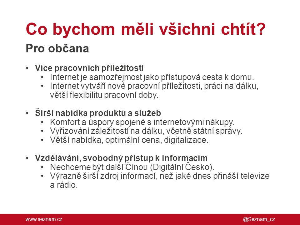 www.seznam.cz Co bychom měli všichni chtít? @Seznam_cz Pro občana •Více pracovních příležitostí •Internet je samozřejmost jako přístupová cesta k domu