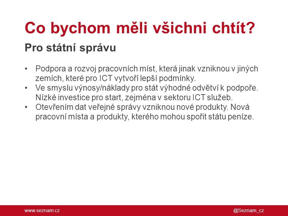 www.seznam.cz Co bychom měli všichni chtít? @Seznam_cz Pro státní správu •Podpora a rozvoj pracovních míst, která jinak vzniknou v jiných zemích, kter