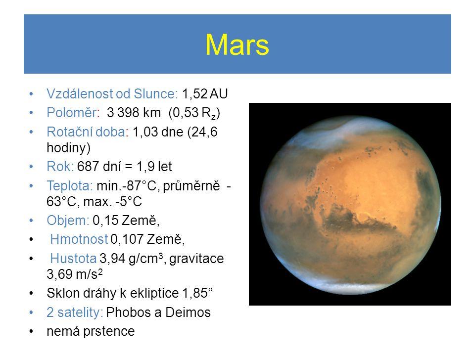 Mars •Vzdálenost od Slunce: 1,52 AU •Poloměr: 3 398 km (0,53 R z ) •Rotační doba: 1,03 dne (24,6 hodiny) •Rok: 687 dní = 1,9 let •Teplota: min.-87°C, průměrně - 63°C, max.