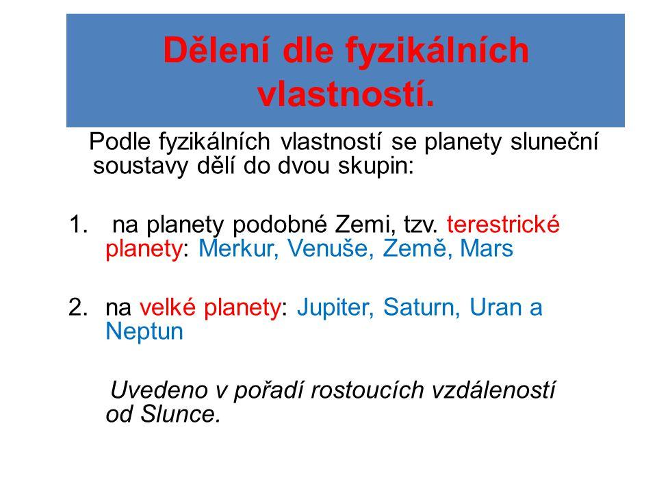 Merkur •Vzdálenost od Slunce 0,4 AU •Poloměr 2 439 km (0,38 R z ) •Rok má 58,7 dní, doba rotace 88 dní •Teplota 427 až -173°C •Objem a hmotnost cca 0,055 Země •Nemá atmosféru, satelity ani prstence •Pevné těleso, nejvíce železa •Povrch poset krátery a zlomy