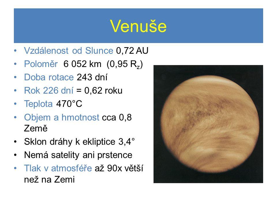 Venuše •Vzdálenost od Slunce 0,72 AU •Poloměr 6 052 km (0,95 R z ) •Doba rotace 243 dní •Rok 226 dní = 0,62 roku •Teplota 470°C •Objem a hmotnost cca 0,8 Země •Sklon dráhy k ekliptice 3,4° •Nemá satelity ani prstence •Tlak v atmosféře až 90x větší než na Zemi