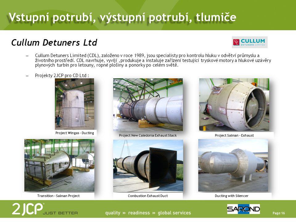 Page 16 Cullum Detuners Ltd – Cullum Detuners Limited (CDL), založeno v roce 1989, jsou specialisty pro kontrolu hluku v odvětví průmyslu a životního prostředí.