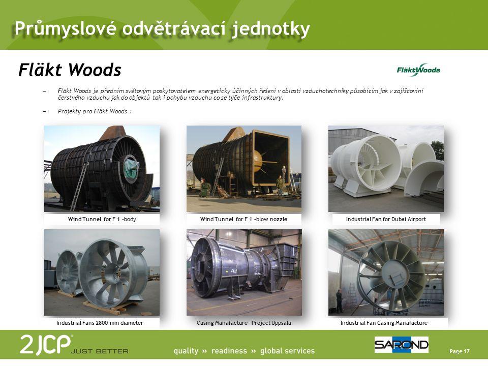 Page 17 Fläkt Woods – Fläkt Woods je předním světovým poskytovatelem energeticky účinných řešení v oblasti vzduchotechniky působícím jak v zajišťovíní čerstvého vzduchu jak do objektů tak i pohybu vzduchu co se týče infrastruktury.