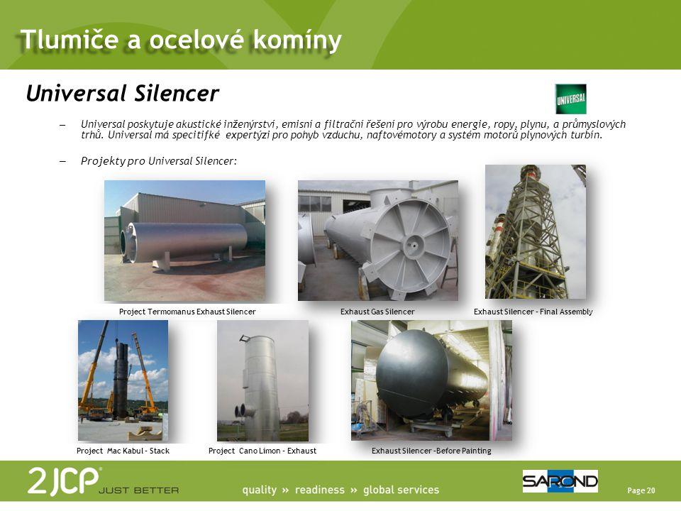 Page 20 Universal Silencer – Universal poskytuje akustické inženýrství, emisní a filtrační řešení pro výrobu energie, ropy, plynu, a průmyslových trhů