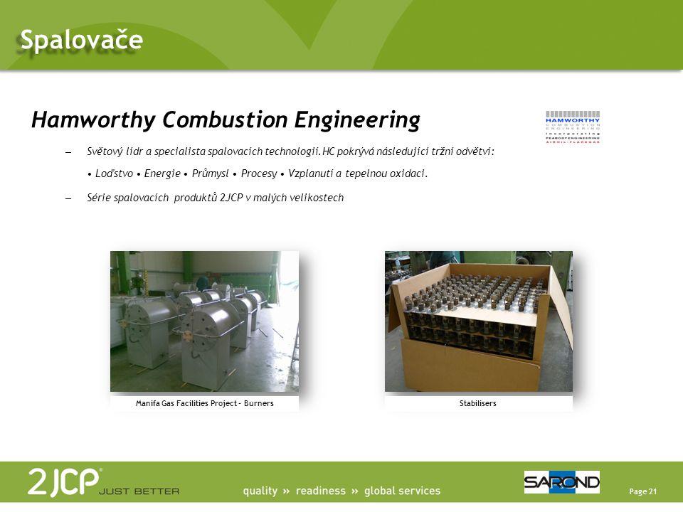 Page 21 Hamworthy Combustion Engineering – Světový lídr a specialista spalovacích technologií.HC pokrývá následující tržní odvětví: • Loďstvo • Energie • Průmysl • Procesy • Vzplanutí a tepelnou oxidaci.