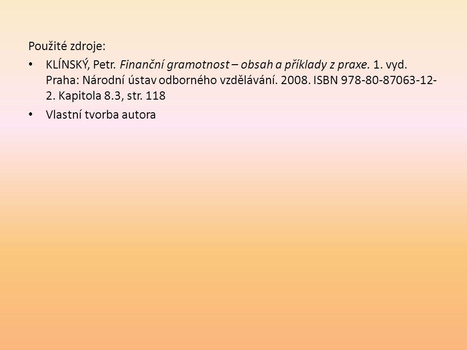 Použité zdroje: • KLÍNSKÝ, Petr. Finanční gramotnost – obsah a příklady z praxe. 1. vyd. Praha: Národní ústav odborného vzdělávání. 2008. ISBN 978-80-