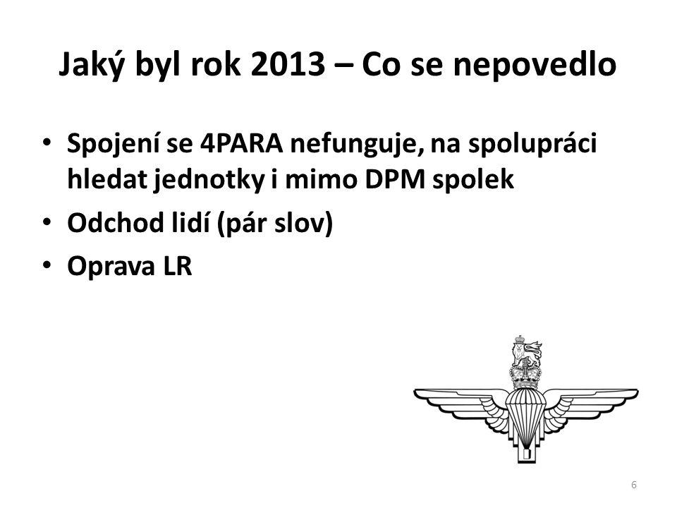 Jaký byl rok 2013 – Co se nepovedlo • Spojení se 4PARA nefunguje, na spolupráci hledat jednotky i mimo DPM spolek • Odchod lidí (pár slov) • Oprava LR 6