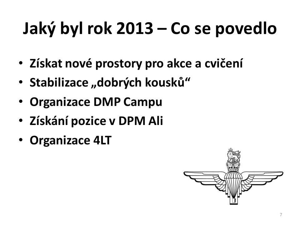 """Jaký byl rok 2013 – Co se povedlo • Získat nové prostory pro akce a cvičení • Stabilizace """"dobrých kousků • Organizace DMP Campu • Získání pozice v DPM Ali • Organizace 4LT 7"""