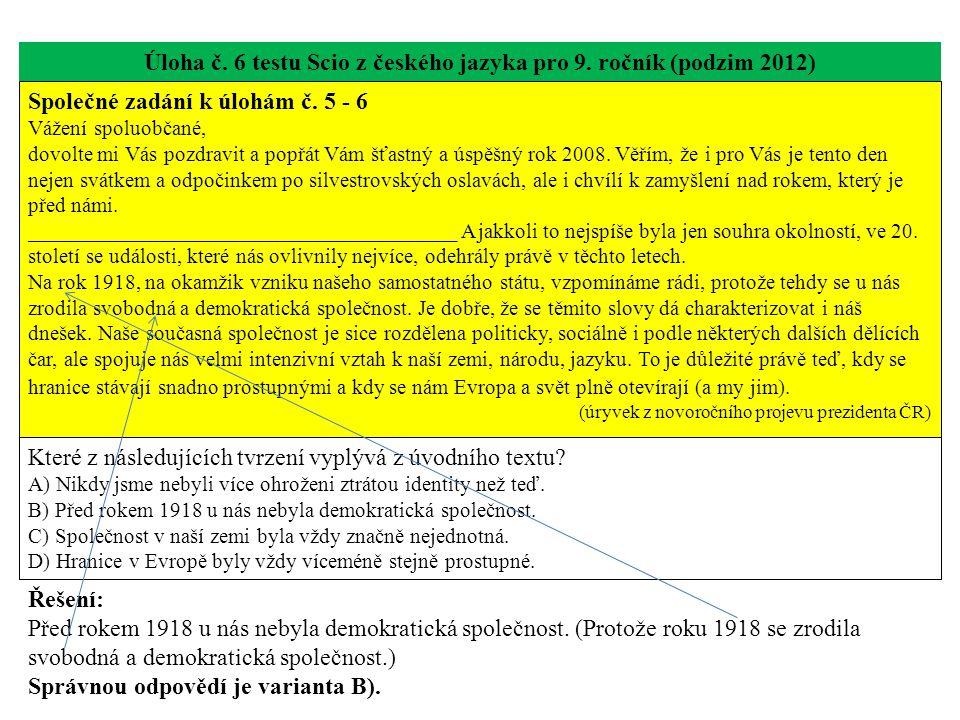 Úloha č. 6 testu Scio z českého jazyka pro 9. ročník (podzim 2012) Společné zadání k úlohám č. 5 - 6 Vážení spoluobčané, dovolte mi Vás pozdravit a po