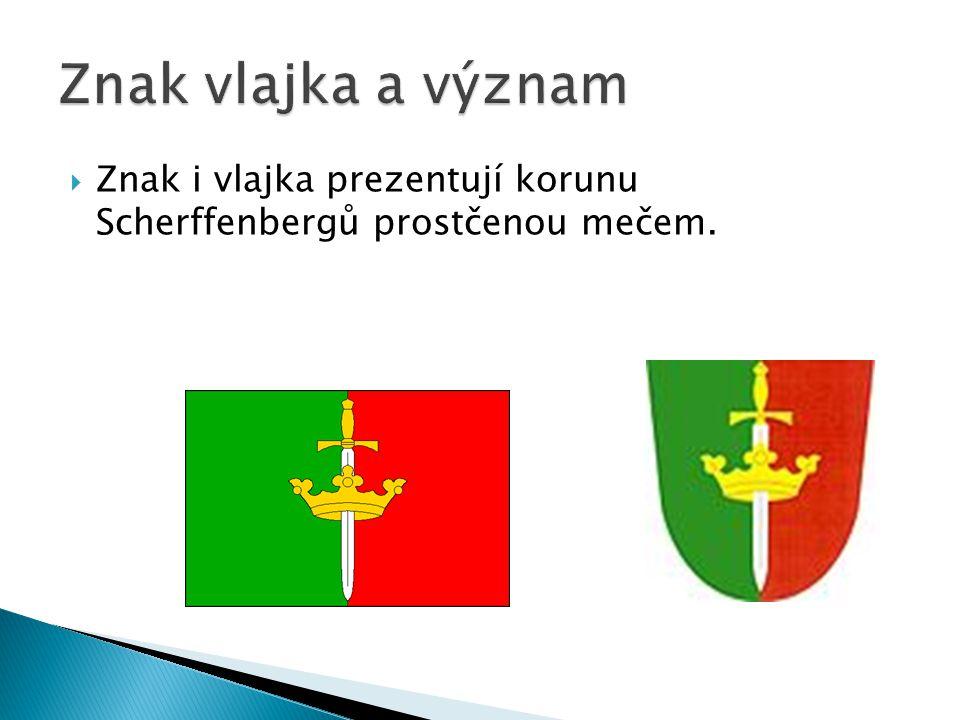 ZZnak i vlajka prezentují korunu Scherffenbergů prostčenou mečem.