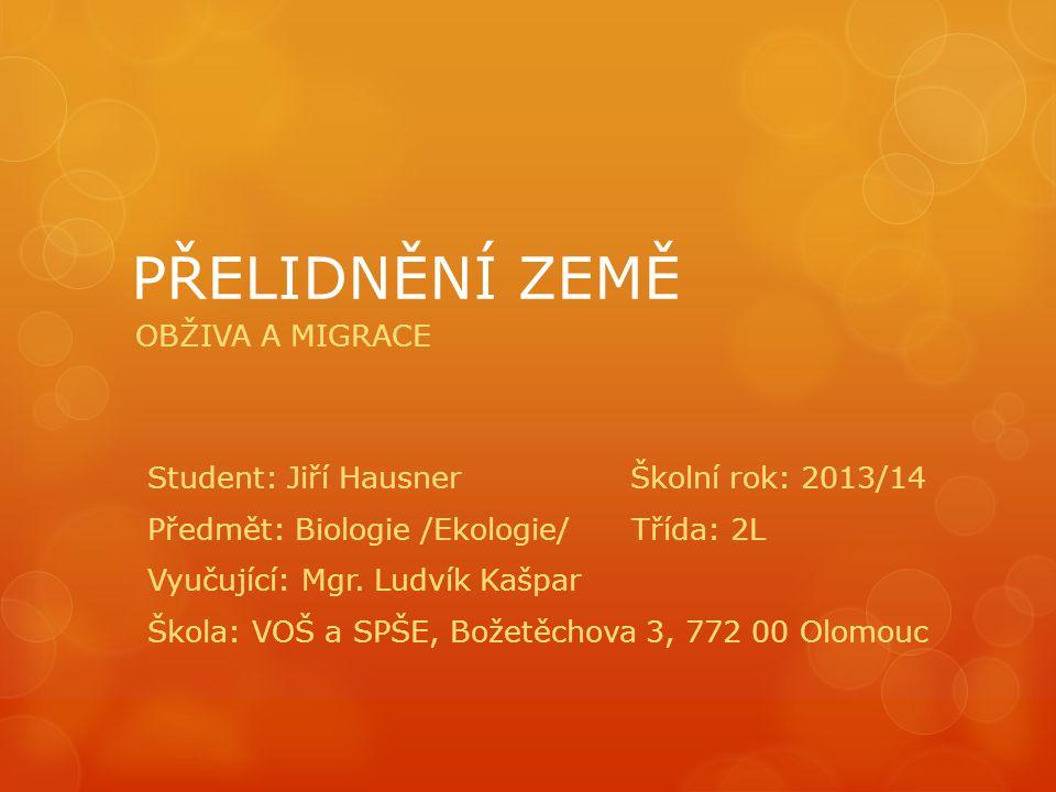 PŘELIDNĚNÍ ZEMĚ OBŽIVA A MIGRACE Student: Jiří Hausner Školní rok: 2013/14 Předmět: Biologie /Ekologie/ Třída: 2L Vyučující: Mgr.