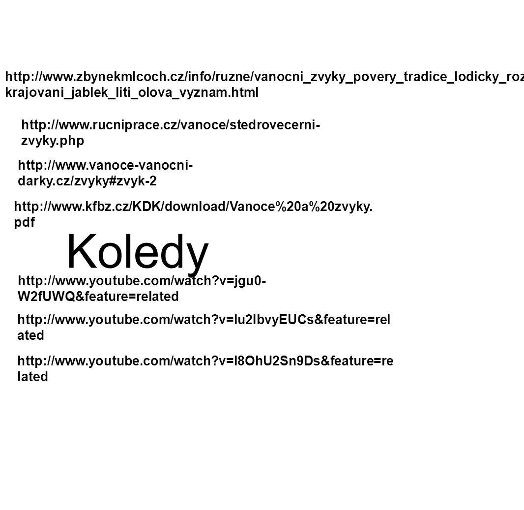 http://www.vanoce-vanocni- darky.cz/zvyky#zvyk-2 http://www.kfbz.cz/KDK/download/Vanoce%20a%20zvyky.