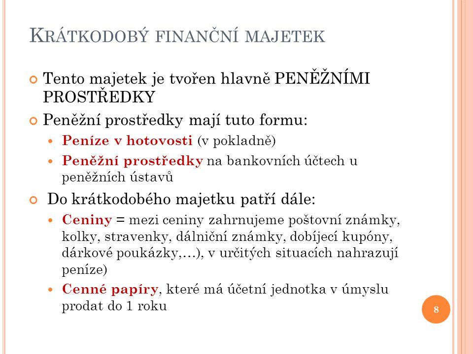 K RÁTKODOBÝ FINANČNÍ MAJETEK Tento majetek je tvořen hlavně PENĚŽNÍMI PROSTŘEDKY Peněžní prostředky mají tuto formu:  Peníze v hotovosti (v pokladně)  Peněžní prostředky na bankovních účtech u peněžních ústavů Do krátkodobého majetku patří dále:  Ceniny = mezi ceniny zahrnujeme poštovní známky, kolky, stravenky, dálniční známky, dobíjecí kupóny, dárkové poukázky,…), v určitých situacích nahrazují peníze)  Cenné papíry, které má účetní jednotka v úmyslu prodat do 1 roku 8
