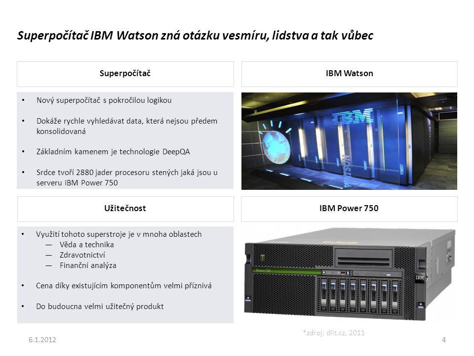 6.1.20124 Superpočítač IBM Watson zná otázku vesmíru, lidstva a tak vůbec SuperpočítačIBM Watson UžitečnostIBM Power 750 • Nový superpočítač s pokročilou logikou • Dokáže rychle vyhledávat data, která nejsou předem konsolidovaná • Základním kamenem je technologie DeepQA • Srdce tvoří 2880 jader procesoru stených jaká jsou u serveru IBM Power 750 • Využití tohoto superstroje je v mnoha oblastech ―Věda a technika ―Zdravotnictví ―Finanční analýza • Cena díky existujícím komponentům velmi příznivá • Do budoucna velmi užitečný produkt *zdroj: diit.cz, 2011