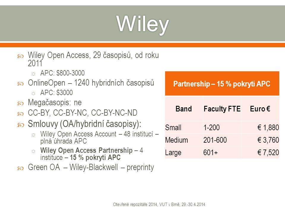 Počet článkůPočet článků*APC=CELKEM €Průměr € na článek 4229529703 Otevřené repozitáře 2014, VUT v Brně, 29.-30.4.2014