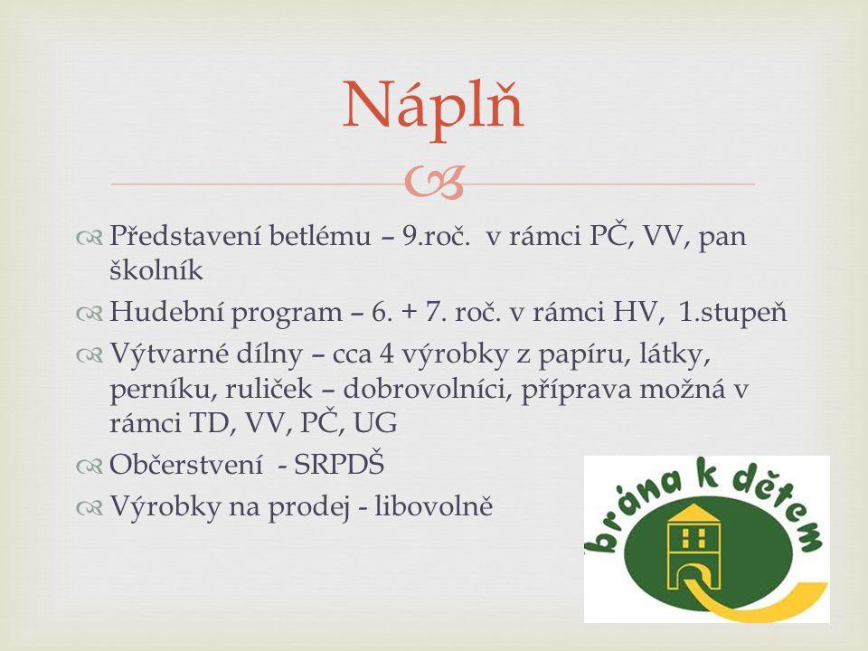   Představení betlému – 9.roč. v rámci PČ, VV, pan školník  Hudební program – 6.