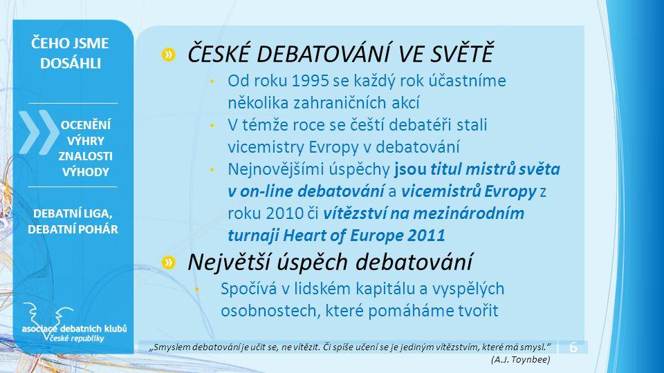 """6 » OCENĚNÍ VÝHRY ZNALOSTI VÝHODY ČEHO JSME DOSÁHLI ČESKÉ DEBATOVÁNÍ VE SVĚTĚ • Od roku 1995 se každý rok účastníme několika zahraničních akcí • V témže roce se čeští debatéři stali vicemistry Evropy v debatování • Nejnovějšími úspěchy jsou titul mistrů světa v on-line debatování a vicemistrů Evropy z roku 2010 či vítězství na mezinárodním turnaji Heart of Europe 2011 Největší úspěch debatování • Spočívá v lidském kapitálu a vyspělých osobnostech, které pomáháme tvořit DEBATNÍ LIGA, DEBATNÍ POHÁR """"Smyslem debatování je učit se, ne vítězit."""