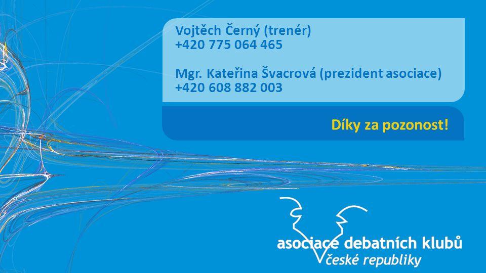 Díky za pozonost. Vojtěch Černý (trenér) +420 775 064 465 Mgr.