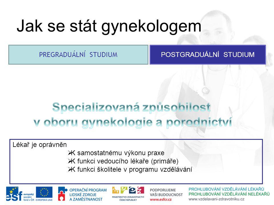 PREGRADUÁLNÍ STUDIUM POSTGRADUÁLNÍ STUDIUM Jak se stát gynekologem Lékař je oprávněn  K samostatnému výkonu praxe  K funkci vedoucího lékaře (primář
