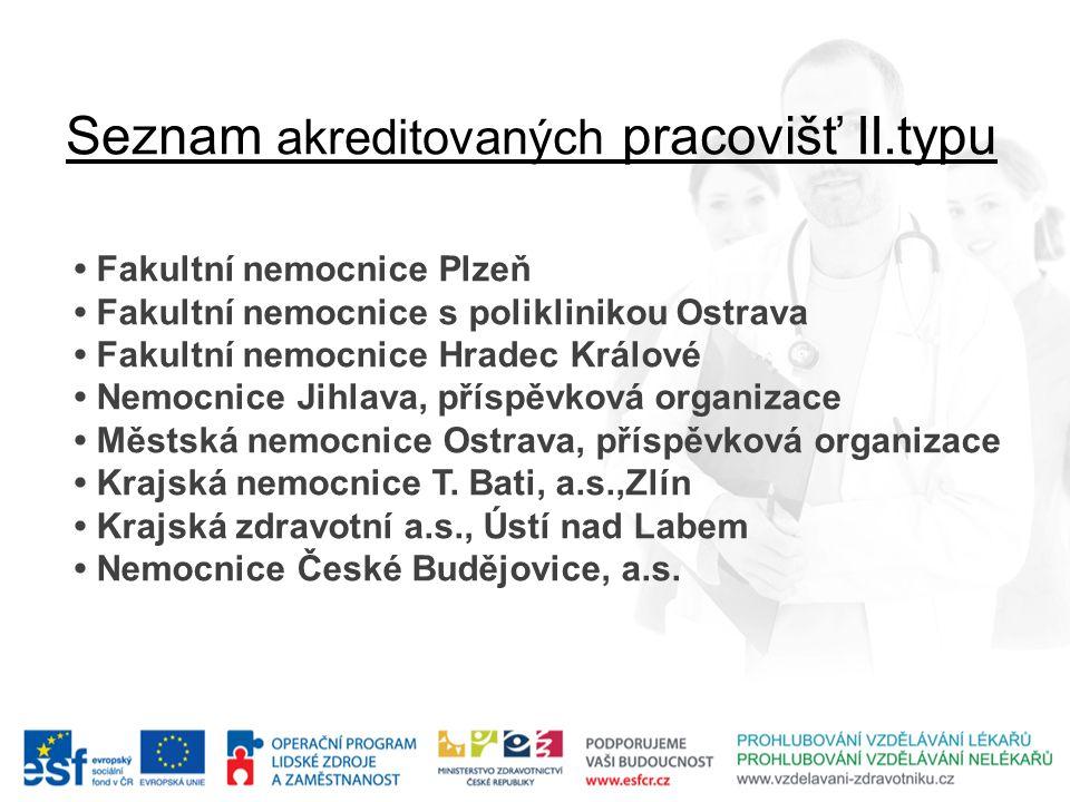 Seznam akreditovaných pracovišť II.typu • Fakultní nemocnice Plzeň • Fakultní nemocnice s poliklinikou Ostrava • Fakultní nemocnice Hradec Králové • N