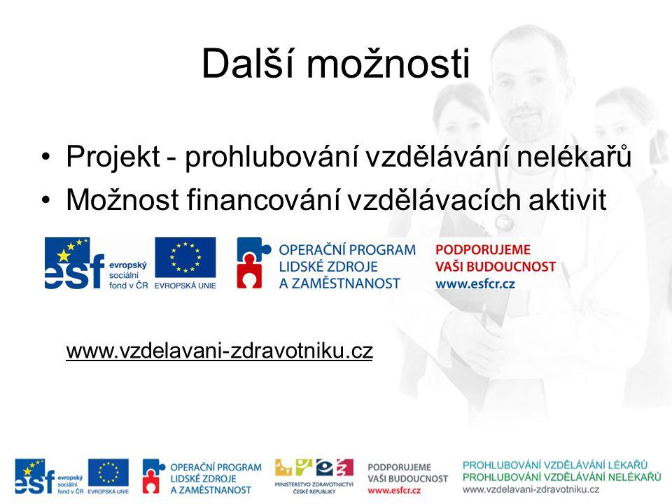 Další možnosti •Projekt - prohlubování vzdělávání nelékařů •Možnost financování vzdělávacích aktivit www.vzdelavani-zdravotniku.cz