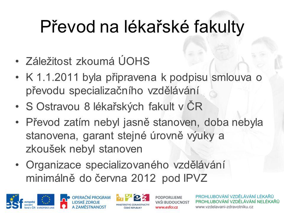 Převod na lékařské fakulty •Záležitost zkoumá ÚOHS •K 1.1.2011 byla připravena k podpisu smlouva o převodu specializačního vzdělávání •S Ostravou 8 lé