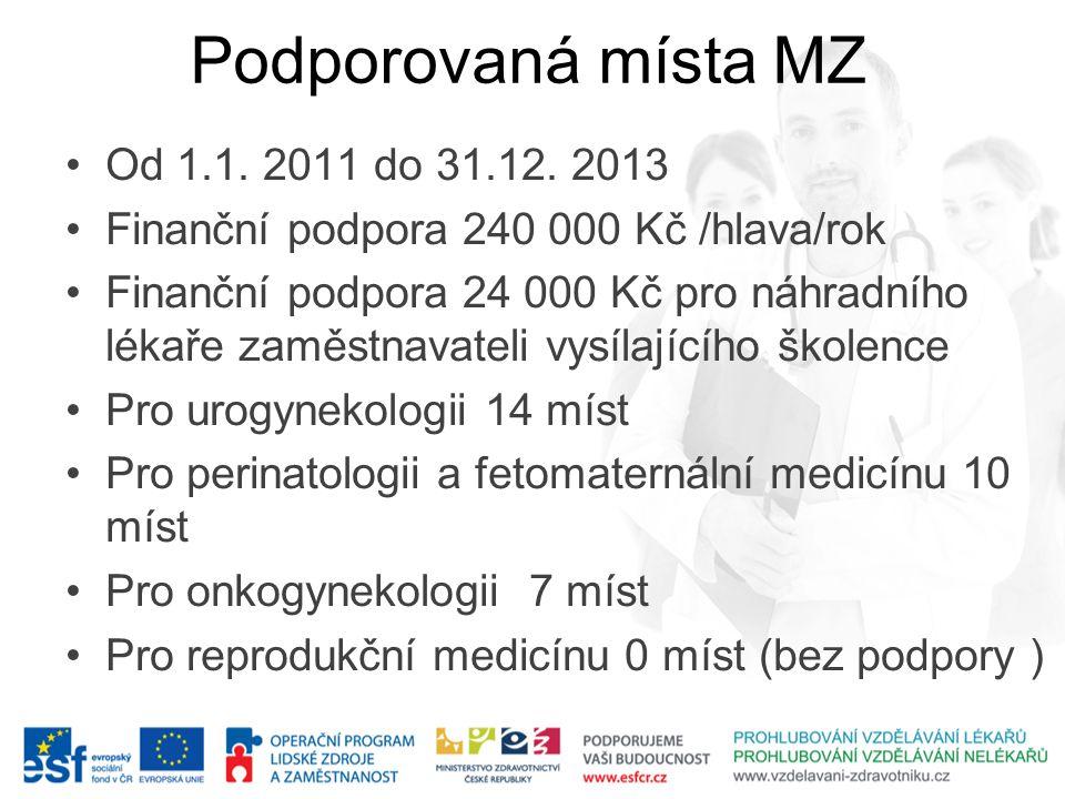 Podporovaná místa MZ •Od 1.1. 2011 do 31.12. 2013 •Finanční podpora 240 000 Kč /hlava/rok •Finanční podpora 24 000 Kč pro náhradního lékaře zaměstnava