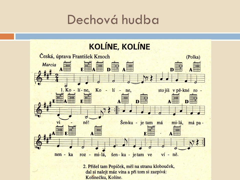 František Kmoch skladby: Kolíne, Kolíne (uk.)uk Andulko šafářova Muziky, muziky Pode mlejnem Česká muzika (uk.)uk Hoj, Mařenko Jara mládí Můj koníček ad.
