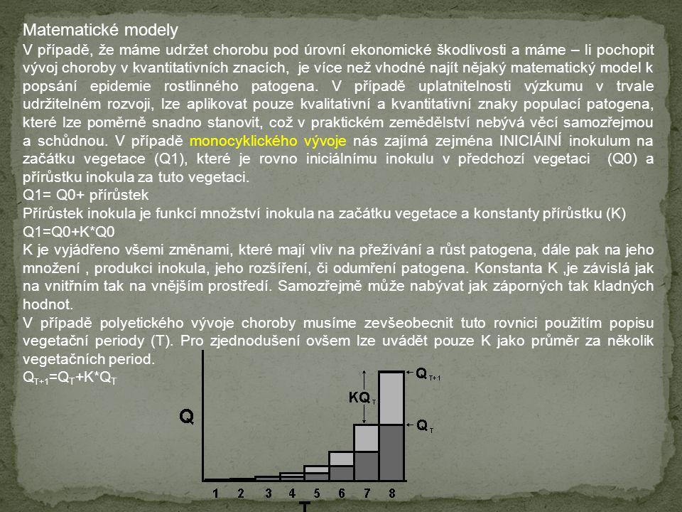 Matematické modely V případě, že máme udržet chorobu pod úrovní ekonomické škodlivosti a máme – li pochopit vývoj choroby v kvantitativních znacích, j