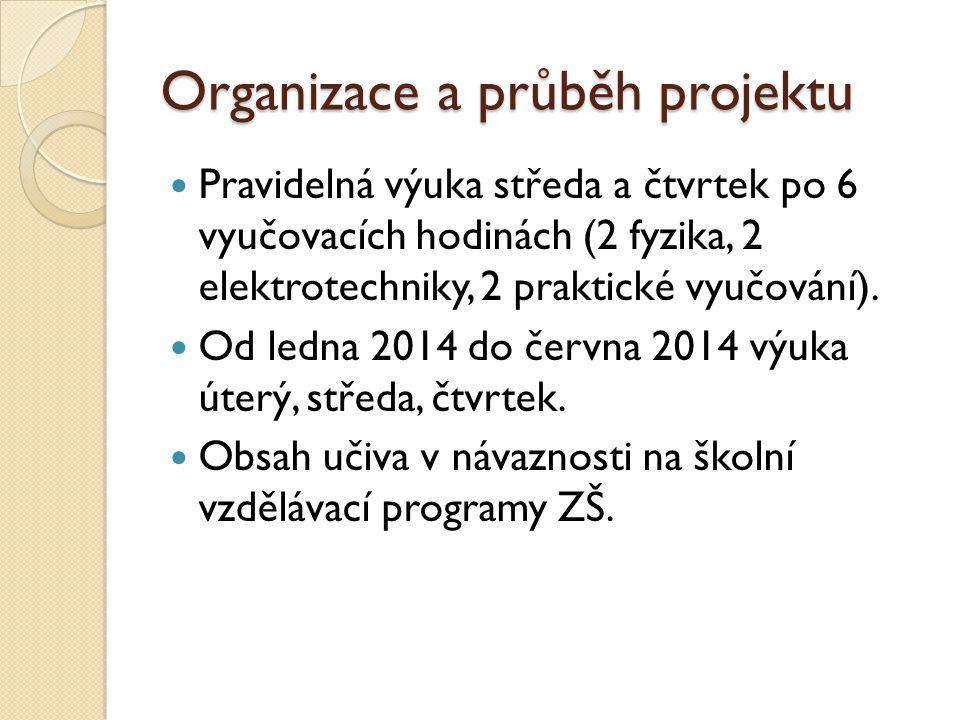 Organizace a průběh projektu  Pravidelná výuka středa a čtvrtek po 6 vyučovacích hodinách (2 fyzika, 2 elektrotechniky, 2 praktické vyučování).  Od