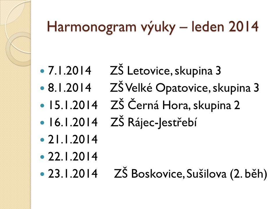 Harmonogram výuky – leden 2014  7.1.2014 ZŠ Letovice, skupina 3  8.1.2014 ZŠ Velké Opatovice, skupina 3  15.1.2014 ZŠ Černá Hora, skupina 2  16.1.