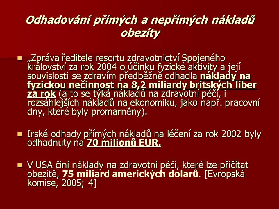 """Odhadování přímých a nepřímých nákladů obezity  """"Zpráva ředitele resortu zdravotnictví Spojeného království za rok 2004 o účinku fyzické aktivity a j"""