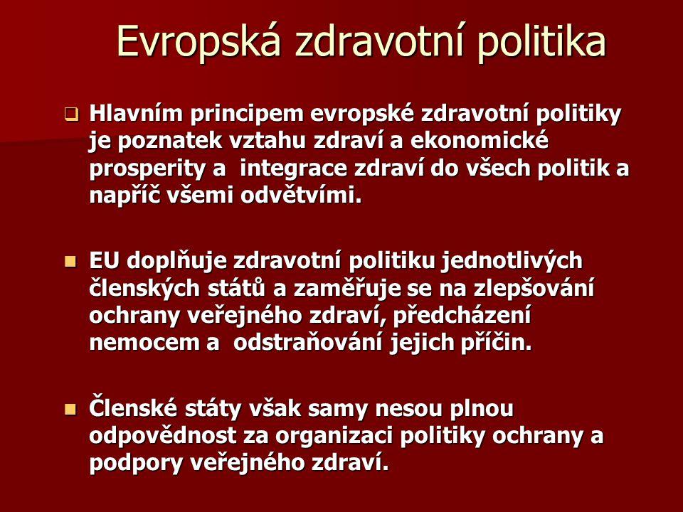 Evropská zdravotní politika  Hlavním principem evropské zdravotní politiky je poznatek vztahu zdraví a ekonomické prosperity a integrace zdraví do vš