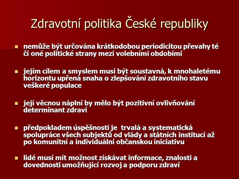 Zdravotní politika České republiky  nemůže být určována krátkodobou periodicitou převahy té či oné politické strany mezi volebními obdobími  jejím c