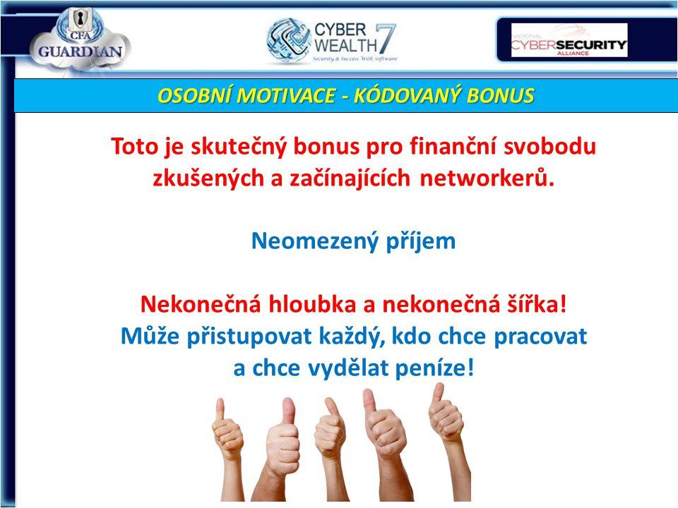 OSOBNÍ MOTIVACE - KÓDOVANÝ BONUS Toto je skutečný bonus pro finanční svobodu zkušených a začínajících networkerů.