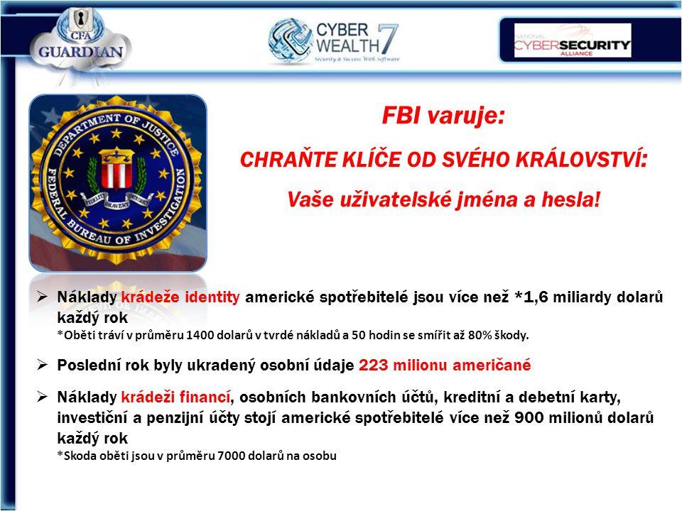 FBI varuje: CHRAŇTE KLÍČE OD SVÉHO KRÁLOVSTVÍ : Vaše uživatelské jména a hesla.