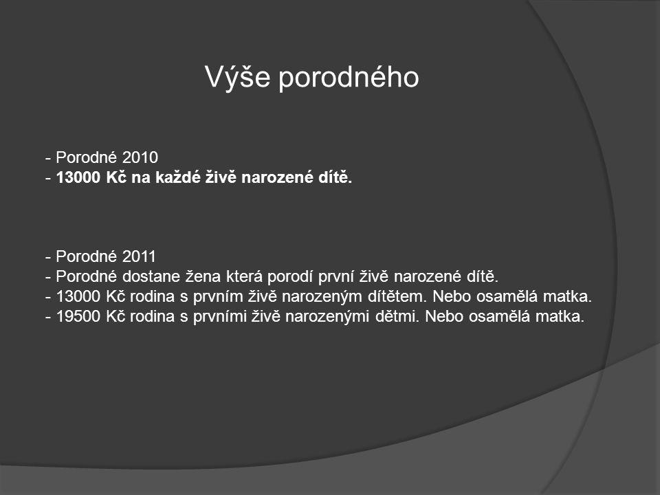 Výše porodného - Porodné 2010 - 13000 Kč na každé živě narozené dítě.