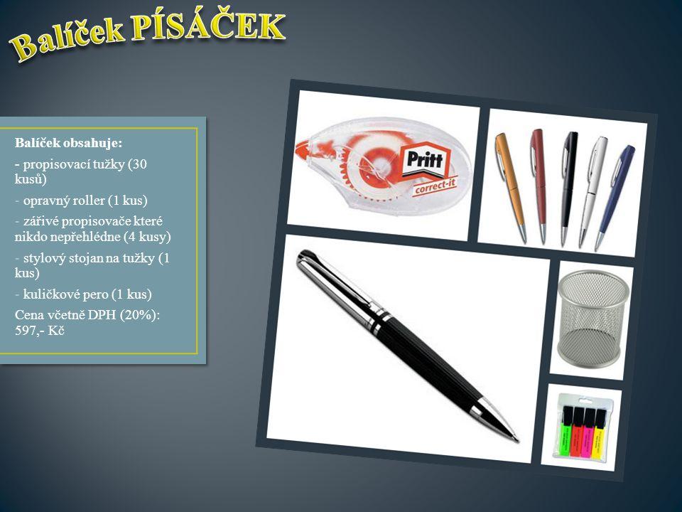 Balíček obsahuje: - propisovací tužky (30 kusů) - opravný roller (1 kus) - zářivé propisovače které nikdo nepřehlédne (4 kusy) - stylový stojan na tuž