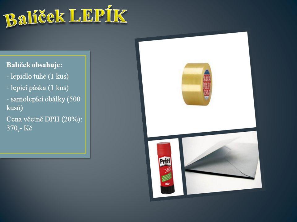 Balíček obsahuje: - lepidlo tuhé (1 kus) - lepící páska (1 kus) - samolepící obálky (500 kusů) Cena včetně DPH (20%): 370,- Kč