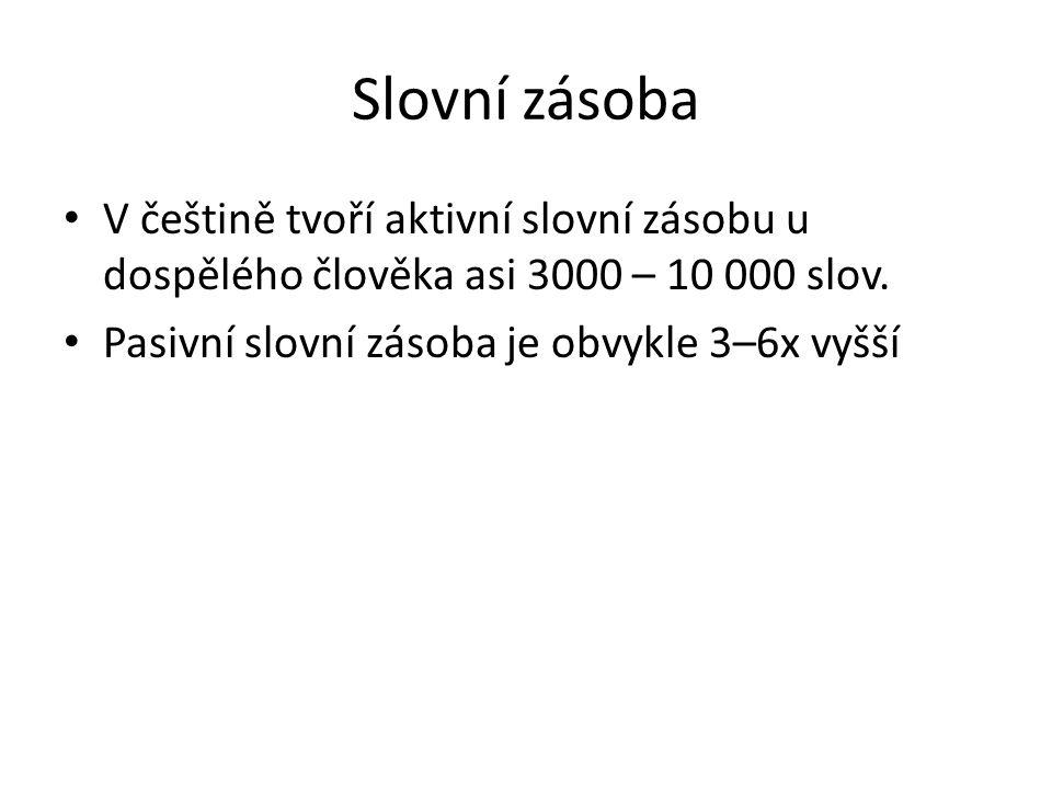 Slovní zásoba • V češtině tvoří aktivní slovní zásobu u dospělého člověka asi 3000 – 10 000 slov.
