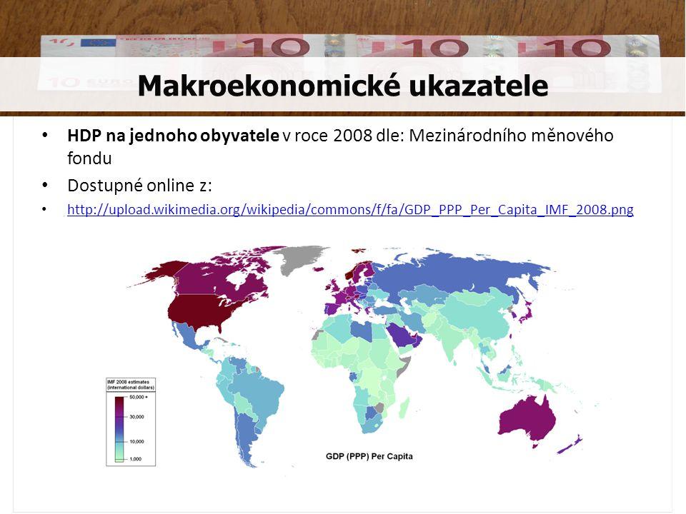 • HDP na jednoho obyvatele v roce 2008 dle: Mezinárodního měnového fondu • Dostupné online z: • http://upload.wikimedia.org/wikipedia/commons/f/fa/GDP_PPP_Per_Capita_IMF_2008.png http://upload.wikimedia.org/wikipedia/commons/f/fa/GDP_PPP_Per_Capita_IMF_2008.png Makroekonomické ukazatele