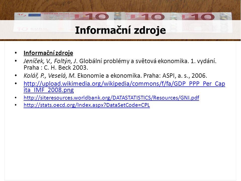 • Informační zdroje • Jeníček, V., Foltýn, J. Globální problémy a světová ekonomika.